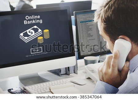 Online Banking Financial Transaction Technology Concept - stock photo