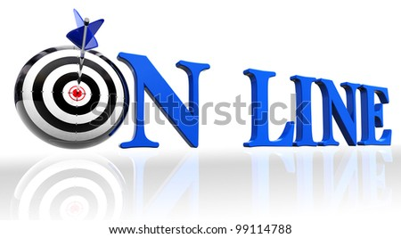 online blue word and conceptual target with arrow on white background.clipping path included