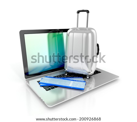 Online booking concept. Airline boarding pass ticket and laptop on a white background. 3d illustration - stock photo