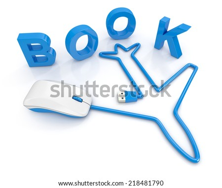 Online booking concept. Computer mouse  with airplane shape cable on a white background. 3d illustration - stock photo