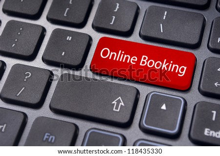 online booking concepts, with message on enter key of computer keyboard. - stock photo