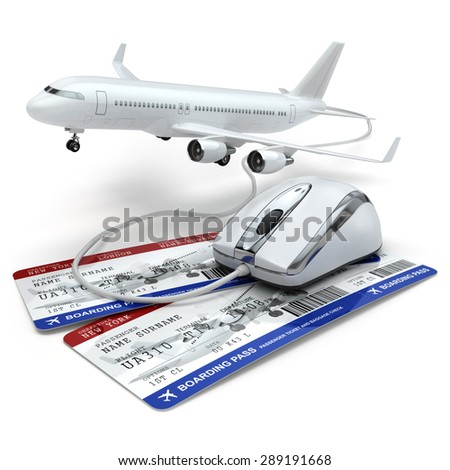 Online booking flight or travel concept. Computer mouse, airline tockets and airplane. 3d - stock photo