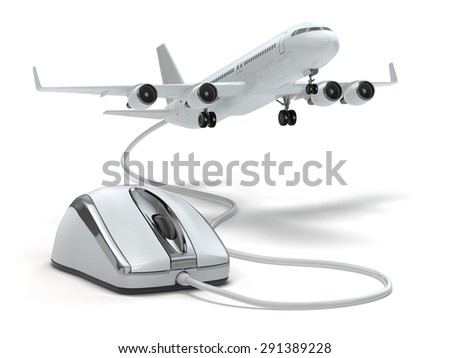 Online booking flight or travel concept. Computer mouse and airplane. 3d - stock photo