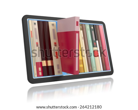 Online bookshelf concept 3d illustration.