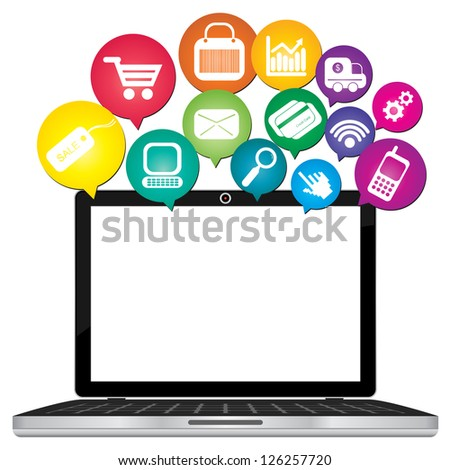 Online Business and E-Commerce Concept Present By Computer Laptop With Blank Screen For Your Own Text Message and Group of Colorful E-Commerce Icon Above Isolated on White Background - stock photo
