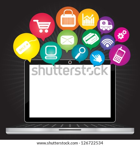 Online Business and E-Commerce Concept Present By Computer Laptop With Blank Screen For Your Own Text Message and Group of Colorful E-Commerce Icon Above in Dark Background - stock photo