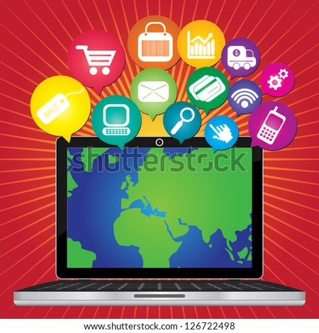 Online Business and E-Commerce Concept Present By Computer Laptop With World Map in Screen and Group of Colorful E-Commerce Icon Above in Red Shiny Background - stock photo