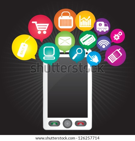 Online Business and E-Commerce Concept Present By White Smart Phone With Blank Screen For Your Own Text Message and Group of Colorful E-Commerce Icon Above in Dark Background - stock photo