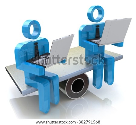 Online business competition - stock photo