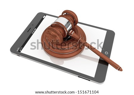 Online Business Concept. Tablet PC with a gavel on a white background - stock photo