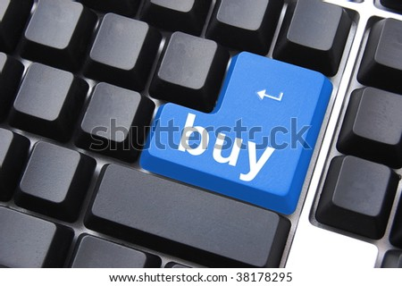 online business concept with computer key on keyboard - stock photo
