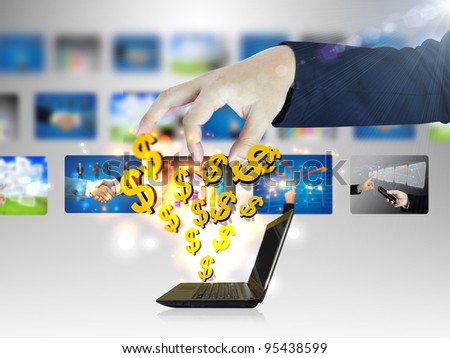 Online business.Dollar sign coming out of notebook screen - stock photo