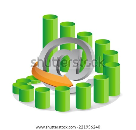 online business graph illustration design over a white background - stock photo