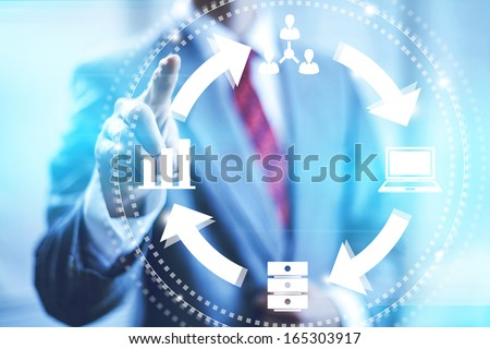 Online business management concept pointing finger