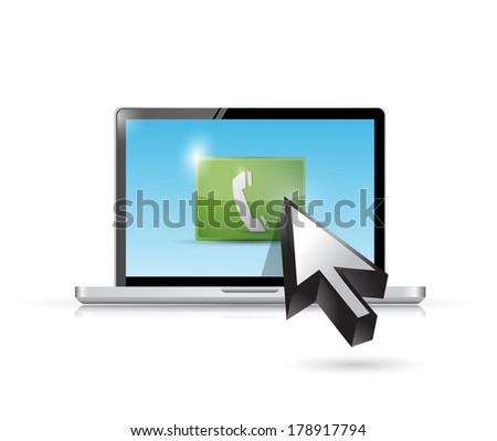 online call concept illustration design over a white background - stock photo