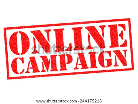 ONLINE CAMPAIGN red Rubber Stamp over a white background. - stock photo