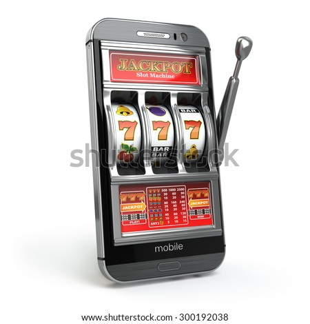 Online casino concept. Mobile phone and slot machine with jackpot. 3d - stock photo