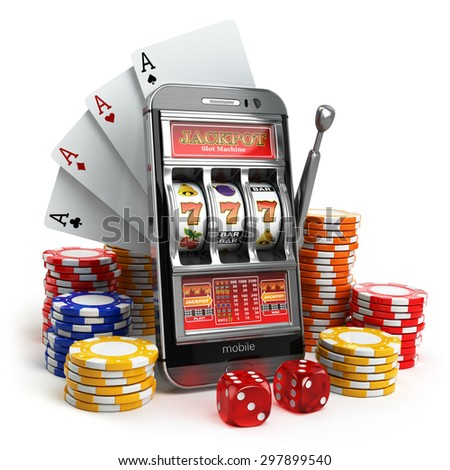 Online casino concept. Mobile phone, slot machine, dice and cards. 3d - stock photo