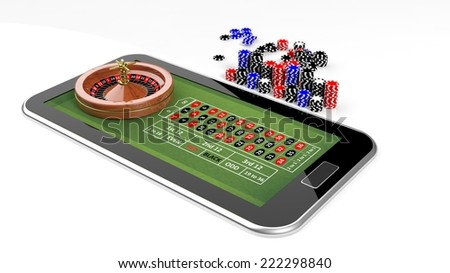 Online casino concept with tablet, roulette and chips isolated - stock photo