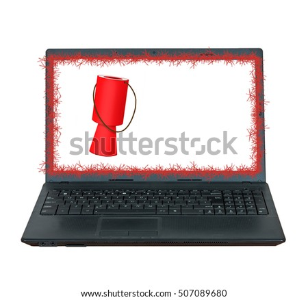 Online Christmas giving, appeals. Charity donations on the web. Laptop and collecting box with tinsel. Isolated on white.