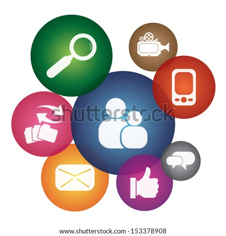 Online Communication, Social Media Or Social Network Concept Present By Group of Colorful Social Network or Social Media Icon Isolated on White Background  - stock photo