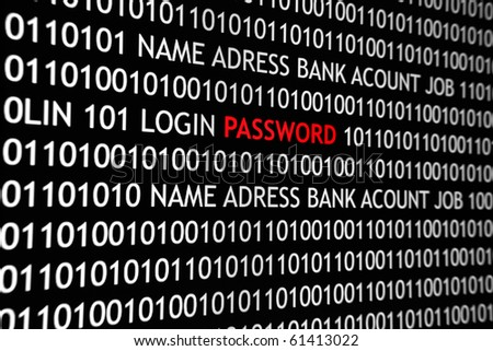 Online computer screen shot with binary code and password text, great concept for computer, technology  and online security. - stock photo