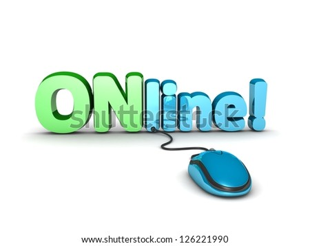 Online concept, 3d illustration of computer mouse and text 'online' on white background