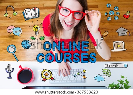 Online Courses concept with young woman wearing red glasses in her home office