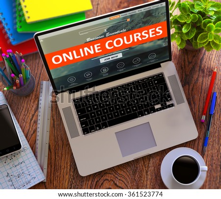 Online Courses on Laptop Screen. Distance Learning Concept. - stock photo