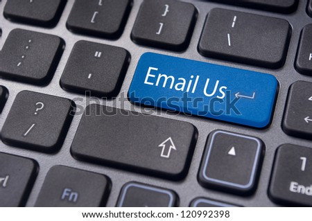online customer service with 'email us' message on computer keyboard. - stock photo