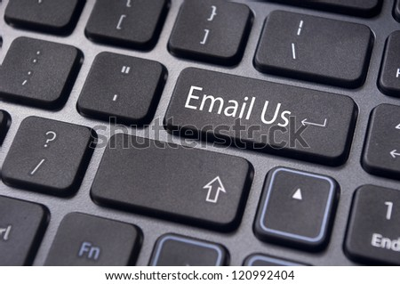online customer service with 'email us' message on computer keyboard.