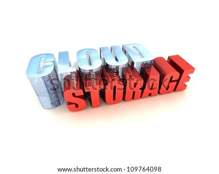 Online Data Storage Isolated on White Background - stock photo