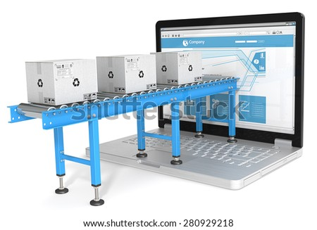 Online distribution. Industrial Conveyor with cardboard Boxes connected to Laptop Screen. Blue theme.