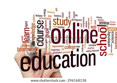 Online education concept word cloud background - stock photo