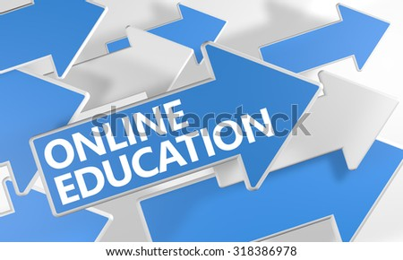 Online Education 3d render concept with blue and white arrows flying over a white background. - stock photo
