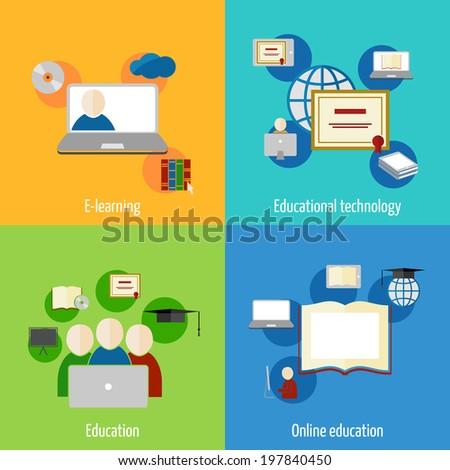 Online education e-learning flat webinar digital school icons set isolated  illustration - stock photo