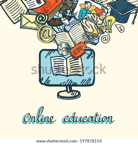 Online education e-learning sketch icons set concept  illustration - stock photo