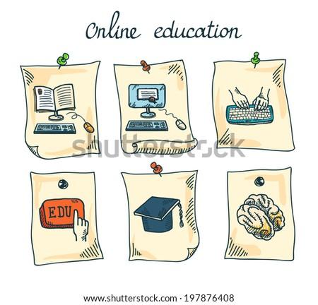 Online education e-learning webinar digital school sticker set isolated  illustration - stock photo