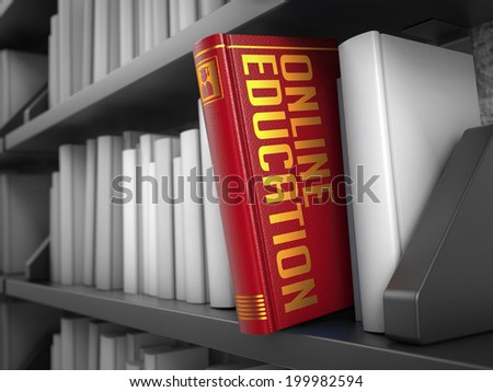 Online Education  - Red Book on the Black Bookshelf between white ones. Internet  Concept. - stock photo