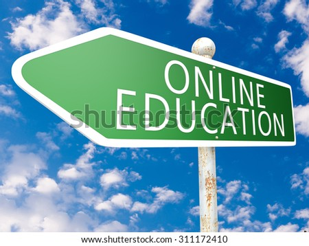 Online Education - street sign illustration in front of blue sky with clouds.
