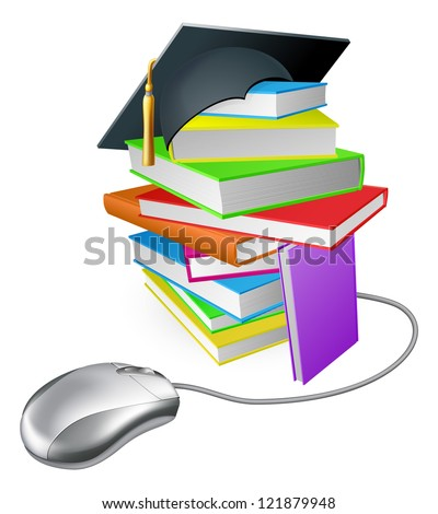 Online education, training or learning concept, a computer mouse connected to a stack of books with graduation cap on it. - stock photo