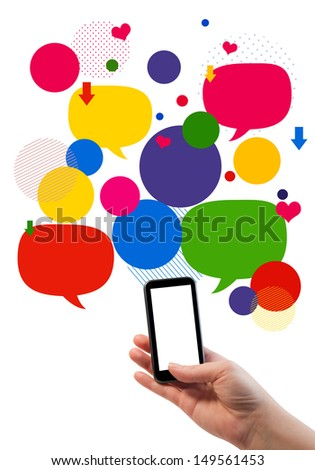 Online empty business template/ Hand holding phone/mobile, empty bubbles/buttons floating above, for icons or text.