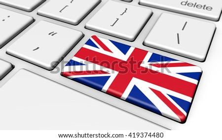 Online English school and United Kingdom use of digital technology with the UK union jack flag on a computer key 3d illustration.