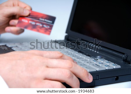 Online finance with credit card - stock photo