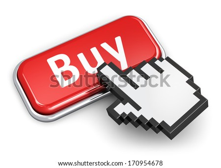Online financial shopping commerce and internet web purchase buying commercial business concept: hand computer mouse cursor pressing red metal glossy button with Buy text isolated on white background