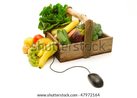 online fruit and vegetable shopping - stock photo