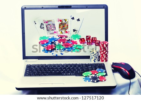 Online gambling - stock photo