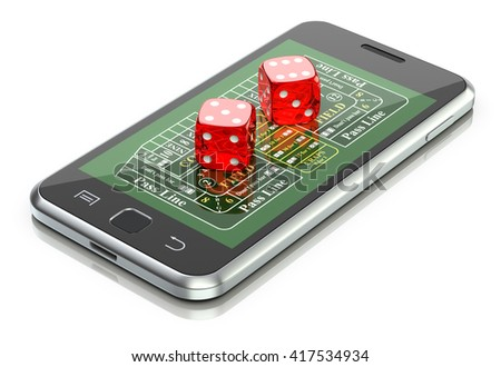 Online gambling concept with dice and craps table on the mobile - 3D illustration - stock photo