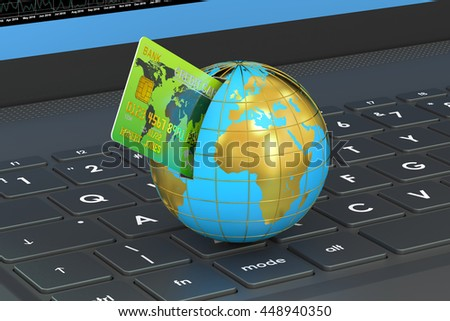Online global payment concept, credit card on a computer keyboard. 3D rendering