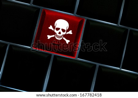 Online hack concept with backlit laptop keyboard - stock photo